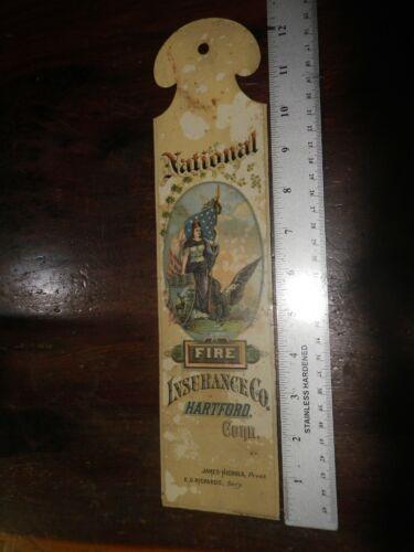Antique Tin Lithograph Advertising National Fire Insurance Co. Hartford Conn.