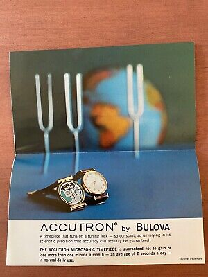 Vintage Bulova Accutron Watch Full-Color Advertising Fold Out Booklet Pamphlet