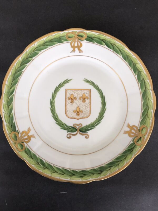 Antique Hand Painted Raised Gold Fleur Lis Crest Shield Bows Swags Ribbons Plate