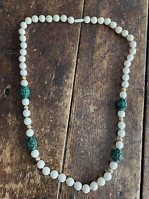 Fine Chinese Carved Bead Necklace with Malachite Beads