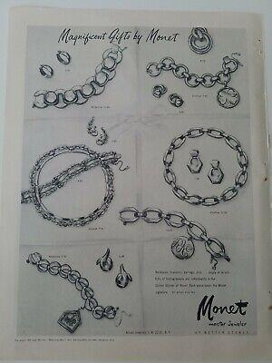 1950 Monet Scottish Terrier dog charm bracelets earrings vintage jewelry ad