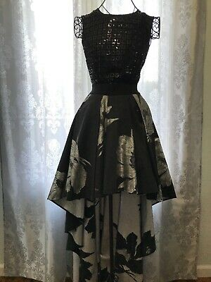 Christian Pellizzari Mixed Media Gown Dress Black Sleeveless Sz 40 ITA 2 US