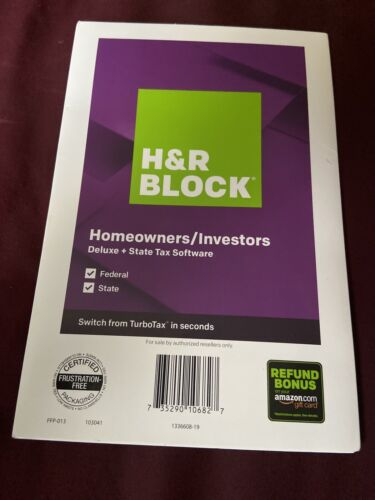 H&R Block Tax Software Homeowners/ Investors Deluxe +State Tax Software 2019