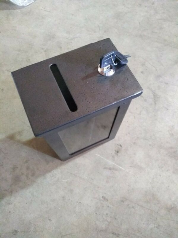 "9""H Metal Toke Box Casino Drop box  with J Hook and Lock"