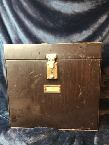 "Vintage ""MyStrong File"" expandable metal file box w/ separate top compartment"