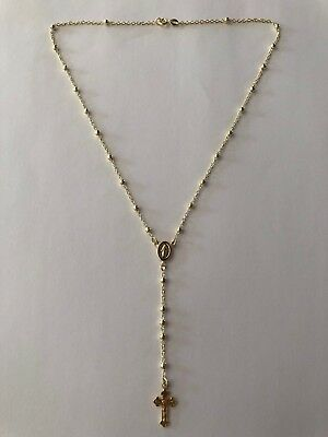 "Ladies Rosary Beads Necklace 18"" 14k Gold Over Solid 925 Sterling Silver Italy"