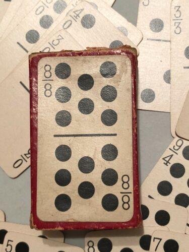 Vintage Miniature Domino Playing Cards Gilt Edge w/ Original Box c.1900 Dominoes