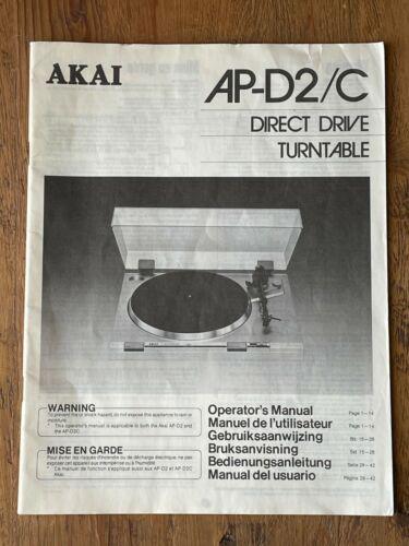 AKAI AP-D2/C Direct Drive Turntable Instruction Manual Operators Guide EN ES DE