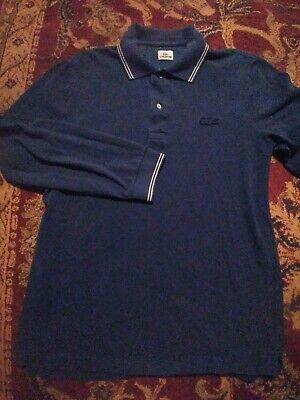 LACOSTE Men's Polo Style 100% Cotton Size 4 BLUE LS Shirt  BIG ALLIGATOR LOGO