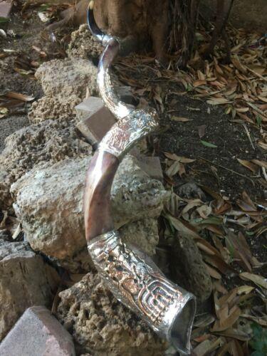 """Unique Shofar 68"""" Sterling Silver Plated Polished Yemenite Kudu Horn Jerusalem"""