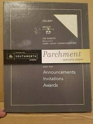 Southworth PARCHMENT Specialty PAPER CELERY 24lb 100 sheets 8.5x11 Laser Ink NEW (Southworth Parchment Paper)