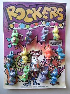 VTG Gumball Machine ROCKERS Animal Band Charm Prize Display Vending Header 1982