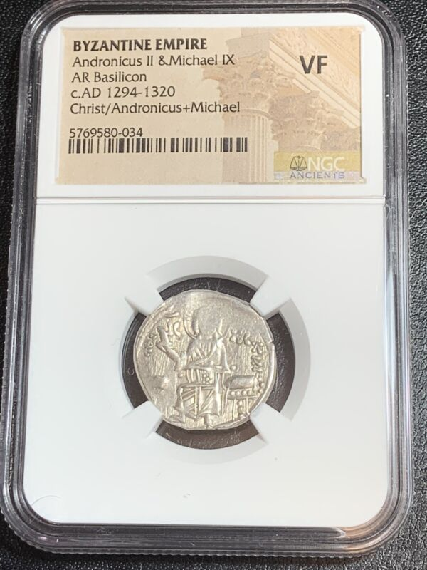 Andronicus II & Michael IX 1282-1328 AR Basilicon NGC VF Silver Byzantine Empire