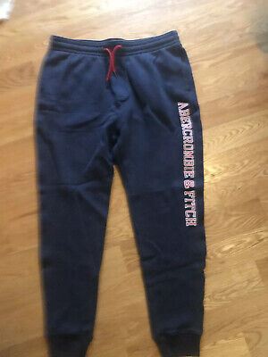 Abercrombie & Fitch Mens L Fleece Sweatpants Drawstring Joggers Navy Never Worn