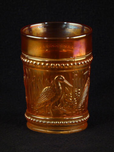 "Dugan Carnival Glass - Stork & Rushes 4"" Amber TUMBLER with Birds"