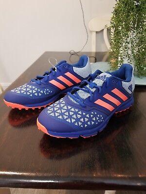 best sneakers 58106 b5035 Adidas Zone Dox Hockey Shoe Blue Orange Trainers Cleats AQ6520 Men s Size 10
