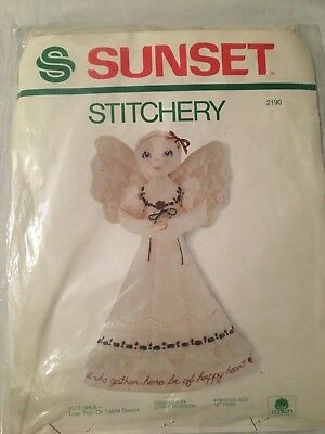 SUNSET DESIGNS VINTAGE STITCHERY KIT  1983 VICTORIA - ANGEL...FREE SHIPPING!!