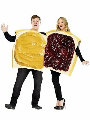 PEANUT BUTTER & JELLY SANDWICH COMIC ADULT HALLOWEEN COSTUMES ONE SIZE FITS MOST - Sandwich Costumes