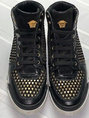 Authentic Versace Mens High Tops Black And Gold Suede Size 45 U.S. 12 Rare