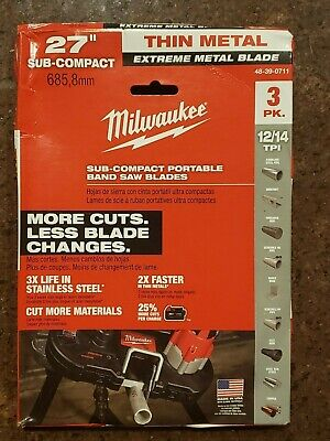 Milwaukee 48-39-0711 27 1214 Tpi Extreme Thin Metal Bandsaw Blades - 3 Pack
