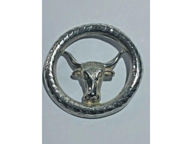 Vintage Mexican Silver Bull Head Brooch