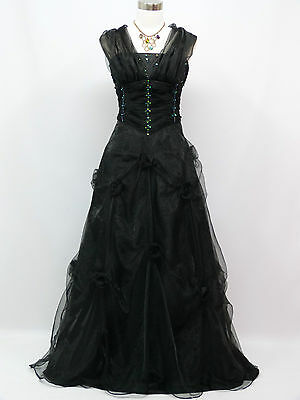 Cherlone Small Size Black Ballgown Wedding/Evening Formal Bridesmaid Dress 12-14