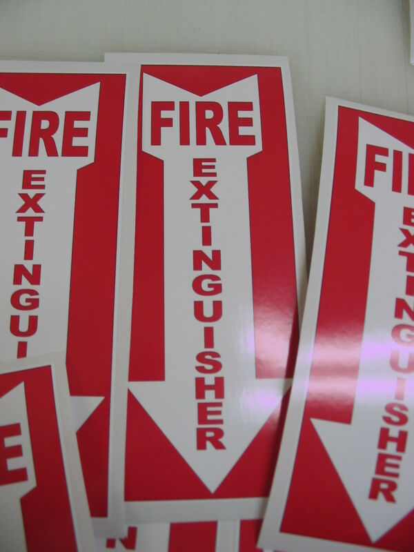5 ARROW FIRE EXTINGUISHER Sticker Decals Inspection Hose Alarm Smoke FDC osha
