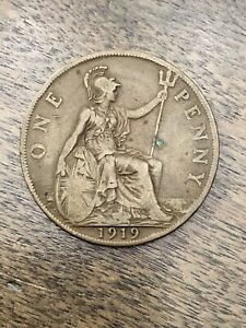 1919-H-GREAT-BRITAIN-GEORGE-V-ONE-PENNY-BRONZE-COIN-KM-810-RARE