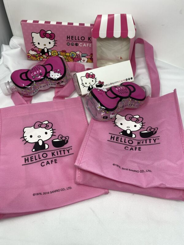 Hello Kitty Cafe Exclusive Lot, Water bottles, bag, empty boxes