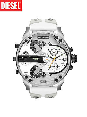 NEW DIESEL MR. DADDY 2.0 Multiple Time White Leather and Silicone Watch DZ7401