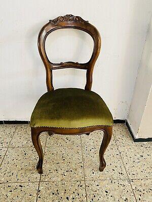 Eleganter Esszimmer Chippendale Stuhl Sessel   Antik  vintage Barock Grün Samt