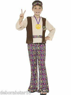 Hippy Boy Costume Kids 60s 70s  Fancy Dress World Book Day Outfit Age 4-12 years