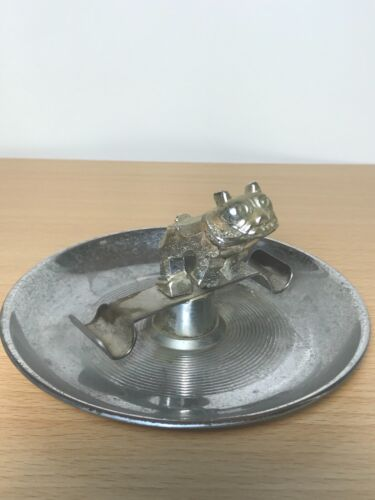 Antique Art Deco Chromed MetalAshtray English Bulldog patent 1109 98.596 167.703