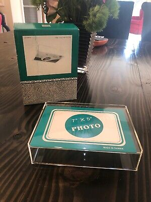 Acrylic Photo Box Holder 5 X 7 Clear Lucite New In Box *8 Available* -