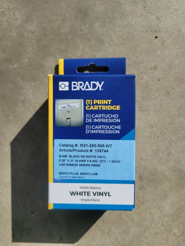 Brady M21-250-595-Wt Label Tape Cartridge,Permanent Printer