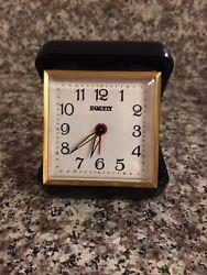 Vintage Black Equity Folding Travel Alarm Clock Wind-Up Works  lot#511-2