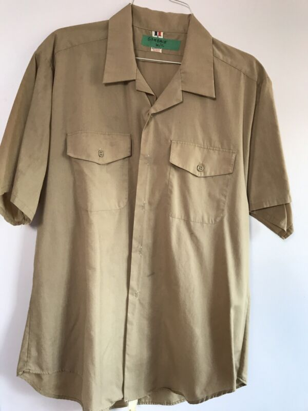 Vintage U.S. Coast Guard dress uniform khaki short sleeve shirt size XXL