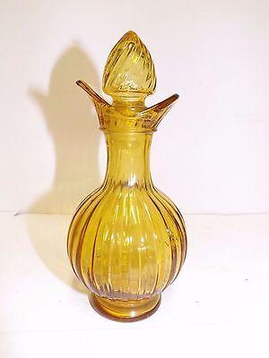 HONEY GOLD AMBER GLASS PERFUME BOTTLE CRUET AVON VERTICAL RIB WITH STOPPER