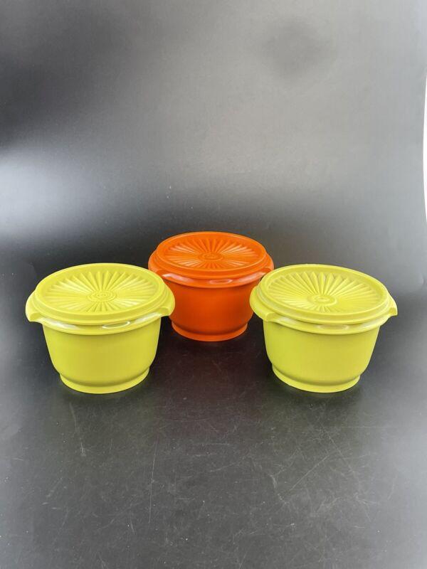 Set of 3 VTG Tupperware Orange Avocado Green SERVALIER Bowls W/Lids #886