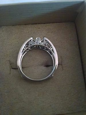 14K white gold wedding insert ring with diamonds