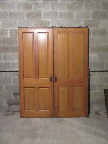 ~SET OF ANTIQUE 4 PANEL POCKET DOORS ~ 68 X 89 ~ ARCHITECTURAL SALVAGE ~