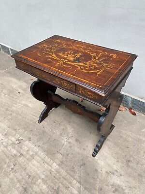 Antico Tavolino Intarsiato Sorrentino - Legno - XIX Secolo -