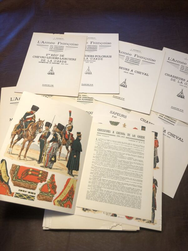 French Army L. ROUSSELOT Lot 28 Plates Lucien Vintage Napoleon France Military
