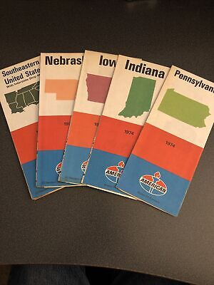 Lot Of (5) Vintage American/Standard Oil Gas Station Road Maps