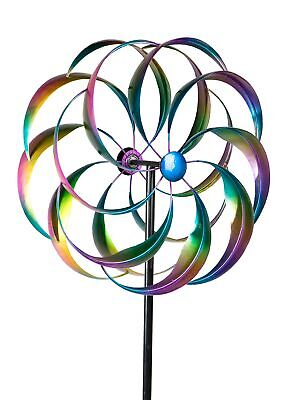 Whirligig Wind As Ornamental Spike from Metal Blue, Red and Orange Length 160 CM