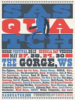SASQUATCH MUSIC FESTIVAL 2012 CONCERT POSTER v.2-Foo Fighters,Modest Mouse,Wilco
