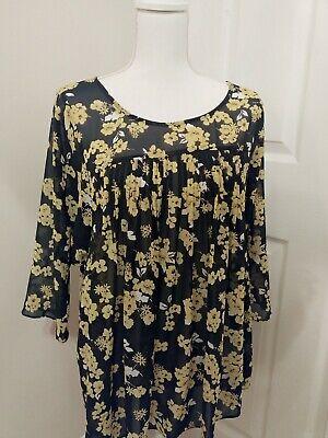 Michael Kors Womens Glam Boho Peasant Blouse Top Floral Plus Size 0X Semi Sheer Glam Peasant Top