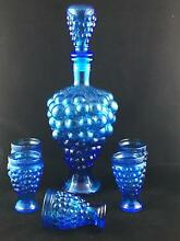 RETRO BLUE GLASS GENIE BOTTLE SET WITH 5 MATCHING SHOT GLASSES Murrumba Downs Pine Rivers Area Preview