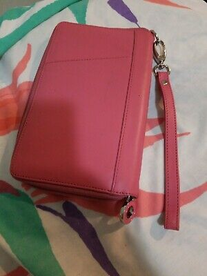 Franklin Covey Pink Faux Leather Zip Around Wallet Large Measures 8.5 5