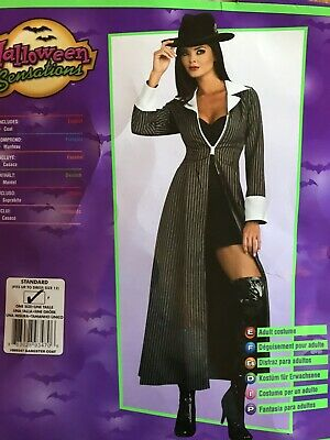 Mafia Costumes For Women (Women's Adult Long Gangster Pinstriped Coat Mafia)